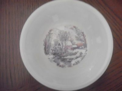 "Small Edwin M Knowles winter scene bowl, 5 1/2"", USA, cream"