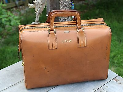 Vintage Brown Leather Dr. Bag Apothecary Medical Bag Zippo-Grip bag Doctors Bag