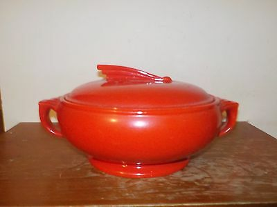 Vintage Hall's Quality Kitchenware Art Deco Red Enamel Soup Tureen Bowl with Lid