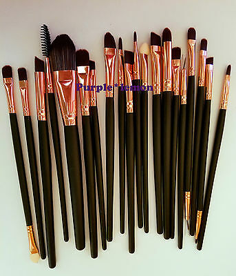 20 pennelli professionali per Make Up Cosmetic Brush Set Kit nero/bronzo