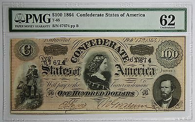T-65 1864 $100 Confederate States of America Uncirculated 62 PMG UNC CSA