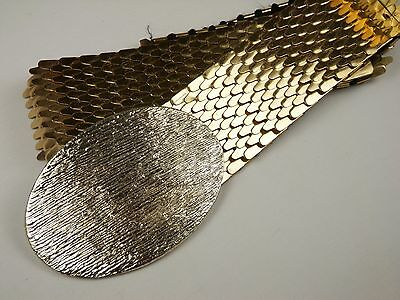 Vintage Retro Fish Scale Goldtone Elastic Stretch Belt Oval Buckle