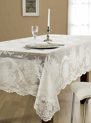 "Luxury Lace Tablecloth Rectangle 60""x88"" - white-3 days shipping from USA"