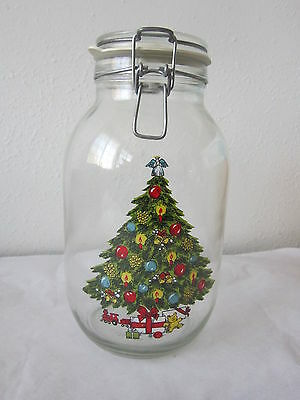 Nos New In Box Carlton Christmas 3 Liter Glass Cookie Jar 1985 Great Present!