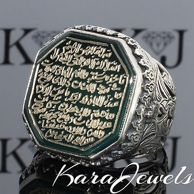 925 Sterling Silver Mens Ring engraved Green Agate Unique Handmade Islamic 9.75