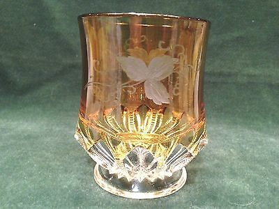 "EAPG  ""ZIPPER SLASH""   CLEAR w/YELLOW STAIN DUNCAN MILLER  SPOONER TUMBLER"