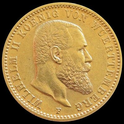 1897 F Gold German State Wurttemberg 20 Mark Wilhelm Ii Coin About Uncirculated