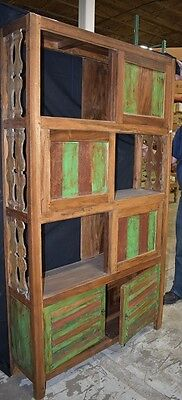 Indonesian Antique Hand Carved Teak Sliding Door Cabinet Bookshelf