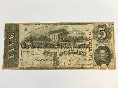 1863 Confederate States of America $5 Five Dollar Bill Civil War Currency Note!