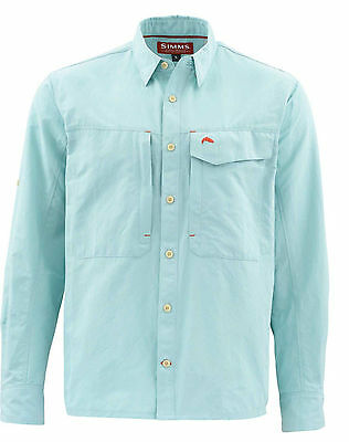 Simms Guide Solid LS Shirt Shirt - Light Teal - Med & Large - Free Shipping