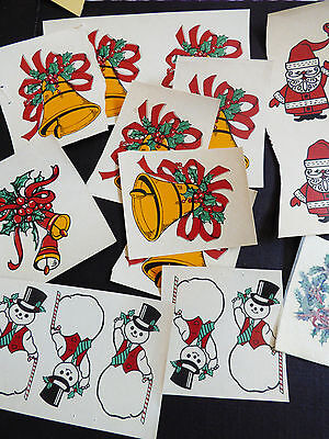 VTG mixed lot of Holiday Christmas Ceramic Decals Bell Snowmen Santa Wreath