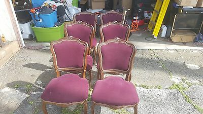 GORGEOUS ANTIQUE Set of 6 Walnut Rosewood  Rococo style Dining Chairs 1900's