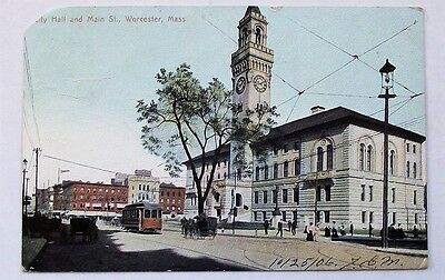 October 25 1906 City Hall and Main Street Worcester Massachusetts Vintage P.C
