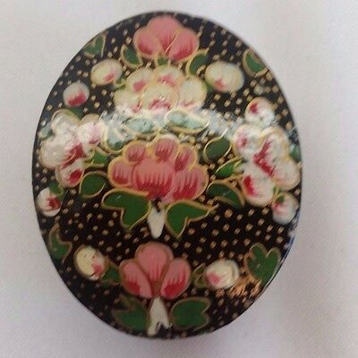 Vintage Kashmir India Black Lacquer Small Trinket Box Hand Painted Flowers Oval
