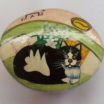 Vintage Kashmir India Black Lacquer Small Trinket Box Hand Painted Cat