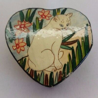 Vintage Kashmir India Black Lacquer Small Trinket Box Hand Painted Heart Cat