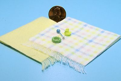 Dollhouse Miniature Yellow Baby Blankets, Rubber Ducky, Rattle & Teether  CH602Y