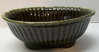Hull Pottery Planter Bowl Ribbed Edges Footed Brown and Green Oblong Vintage