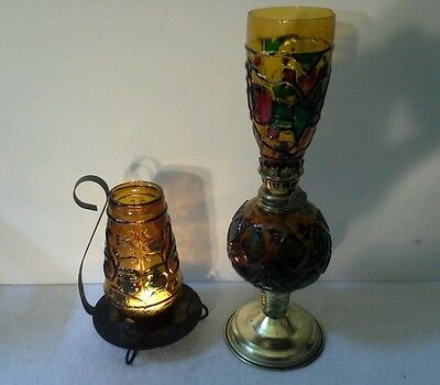 """Vintage Large Sailboat Oil Lamp(11-1/2"""") with Matching Candle Lamp(6"""")"""