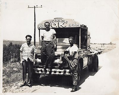 1950s Original Vintage Cuban Photo OK Chevrolet Moving Truck Company & Workers