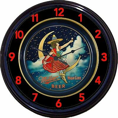 Miller High Life Beer Tray Wall Clock Milwaukee Moon Girl Ale Man Cave New 10""