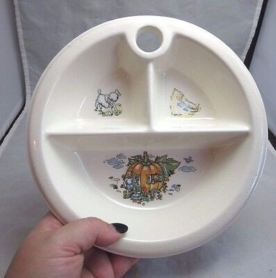 Vintage childs divided dish. Advertising Kiddie-Land Toys. Mishawaka, In.