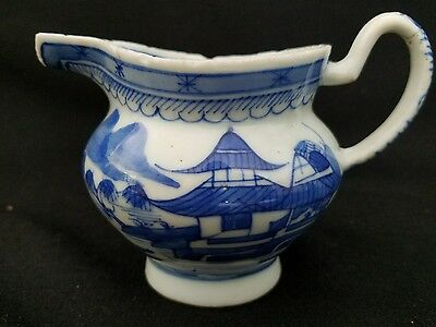 Canton Chinese Export Blue and White Porcelain Pitcher 1800's
