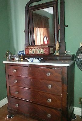 Antique Federal Empire Style Dresser with Original Mirror and Marble Top