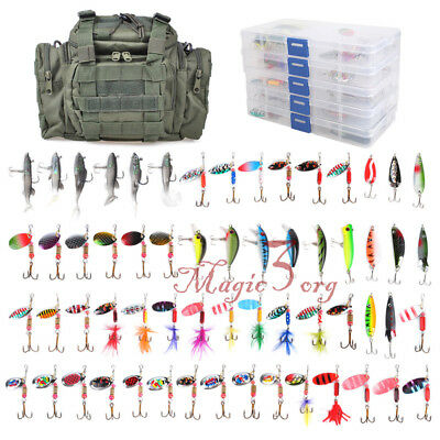 Fishing Tackle Bag & 60pcs Lure Set Spinners Spoon Plugs Crankbait W/ 5 Boxes