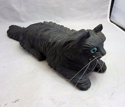 J.PINAL signed Hand carved wood black Persian cat figurine, sculpture