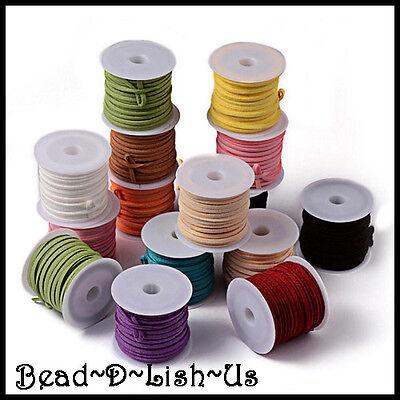 5 meters 3mm Faux Suede Leather Cord  DIY Necklace Beading  - CHOOSE YOUR COLOUR