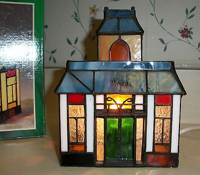 """Tiffany Stained Glass """"Bank"""" by Holiday Creations -- In Box"""