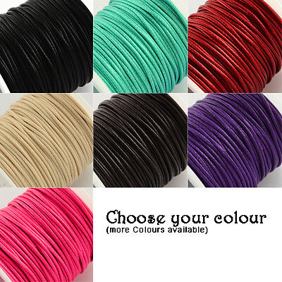 10m Waxed Polyester Cord 1mm thick DIY Necklace Beading  - CHOOSE YOUR COLOUR