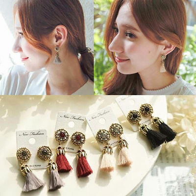 New Gold Plated Charm Bead Tassel Pendant Drop Statement Dangle Women Earrings