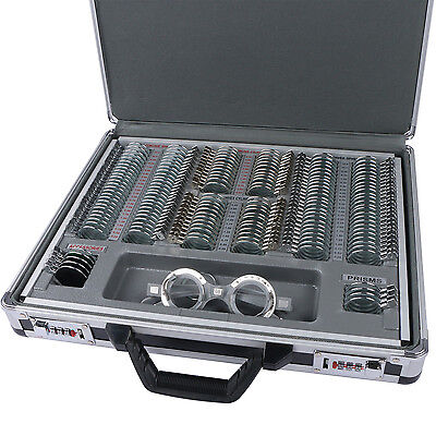 158pcs Optical Optometry Trial Lens Set Metal Rim Aluminum Case Free Trial Frame