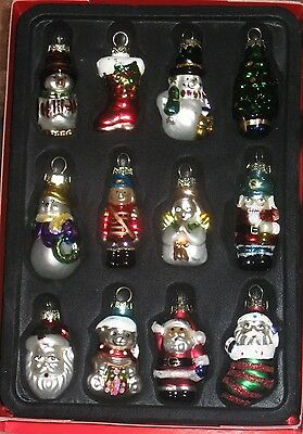 Brand New in Box! Set of 12 Glass Christmas Ornaments Hand Painted Collectible