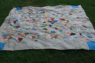 Fabulous Vintage Six Point Star Patchwork Quilt Top with Early Fabrics 1900s 30s