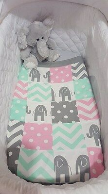 New Mint, baby pink and Grey Elephant patchwork design bassinet quilt set