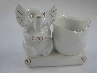 Vintage Toothpick Holder With Elephant Sitting On The Side