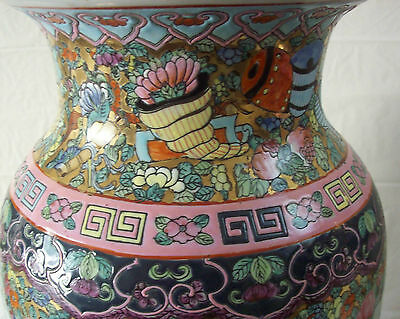 "Large 18"" Antique Pair Chinese Famille Rose Vases W/ Qianlong Mark--Make Offer"