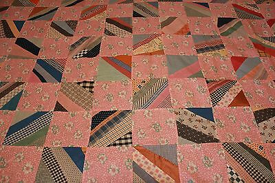 Great Vintage Patchwork Quilt Top with 1900s - 1930s Fabrics