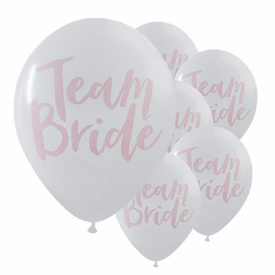 10X Team Bride White Pink Hen Night Do Party Happy Wedding Latex Printed Balloon