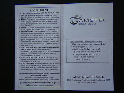 Amstel Golf Club Cranbourne - Score Card