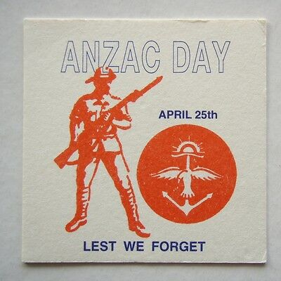 ANZAC DAY APRIL 25th LEST WE FORGET COASTER
