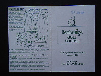 Bembridge Golf Course Somerville - Score Card