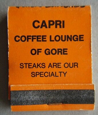 Capri Coffee Lounge Of Gore Steaks Are Our Specialty Matchbook