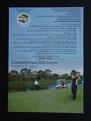Centenary Park Golf Course Frankston - Score Card