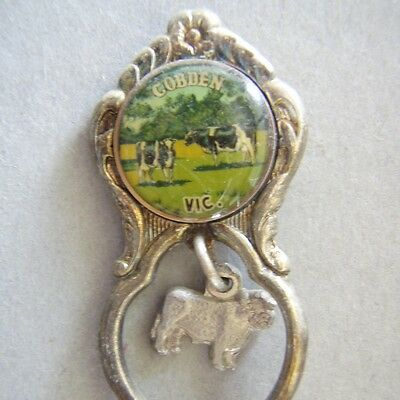 Cobden Vic Cattle Charme Silverplated Souvenir Spoon Teaspoon (T79)