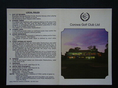 Corowa Golf Club Ltd - Score Card