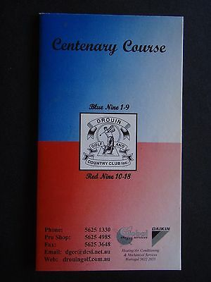 Drouin Golf And Country Club Centenary Course Blue Nine Red Nine Score Card
